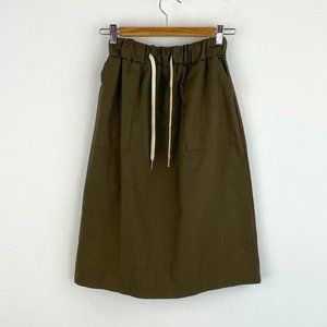 OAK + FORT Knee Length Drawstring Skirt NWT